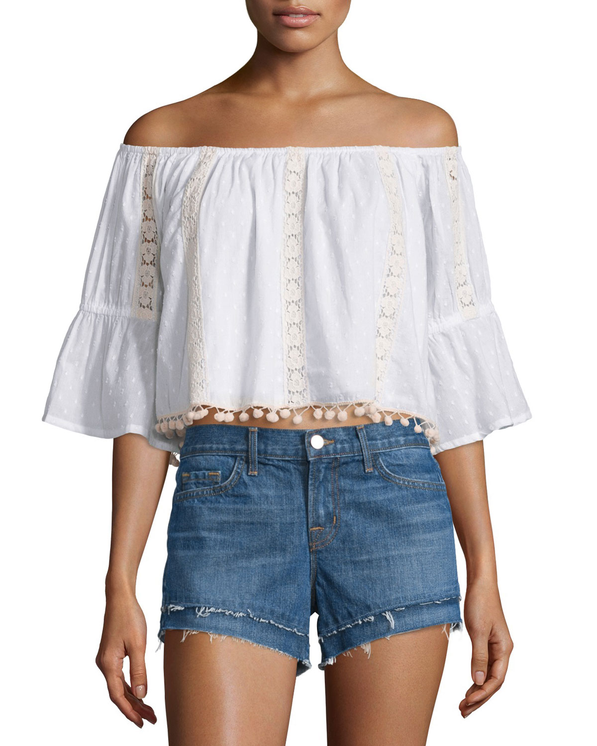 Alexa Lace-Inset Off-Shoulder Crop Top, White, Size: SMALL - Tularosa