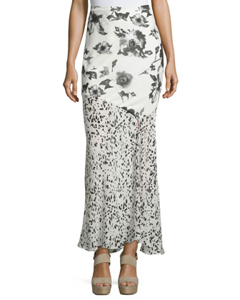 Mixed-Print Maxi Skirt, Swan/Black