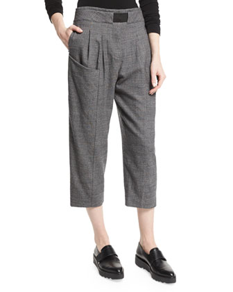 Pleated-Front Cropped Trousers, Gray