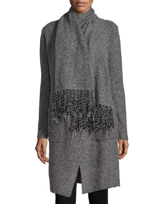 Scarf-Tie Long Knit Cardigan, Charcoal/Black
