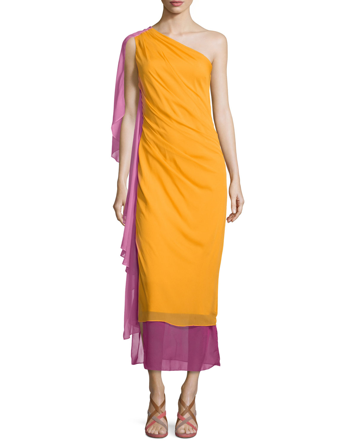 Nori Colorblock Silk Maxi Dress, Saffron, Women's, Size: 0 - Diane von Furstenberg