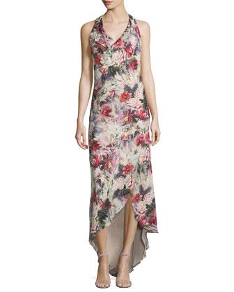 Cowl-Neck Racerback Maxi Dress, Blush/Multi