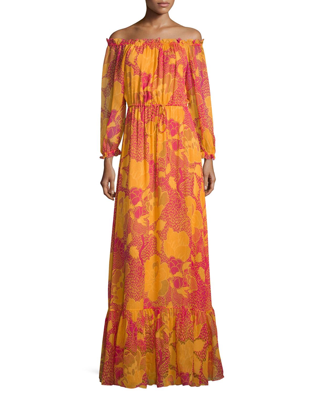 Camila Off-the-Shoulder Flower Power Maxi Dress, Fuchsia, Women's, Size: 0, Flower Power Fusc - Diane von Furstenberg