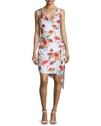 Sleeveless Floral-Print Asymmetric Dress, Swan/Coral/Multi