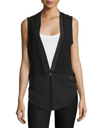 V-Neck Combo Vest, Black
