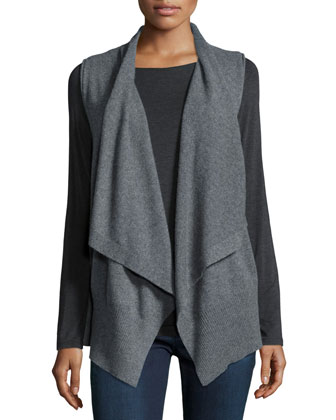 Sleeveless Draped Cashmere Vest