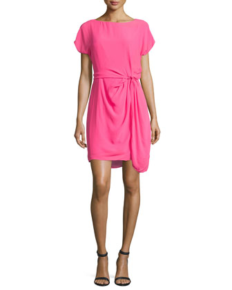 Short-Sleeve Gathered-Waist Dress, Hot Pink