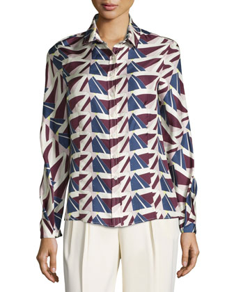 Button-Front Geometric-Print Blouse, Ivory/Multi