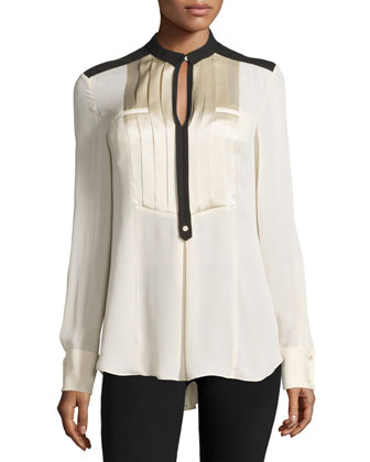 Long-Sleeve Two-Tone Blouse, Bone/Black