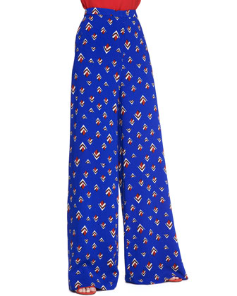 Wide-Leg Fantasy-Print Pants, Cobalt Blue/Multi