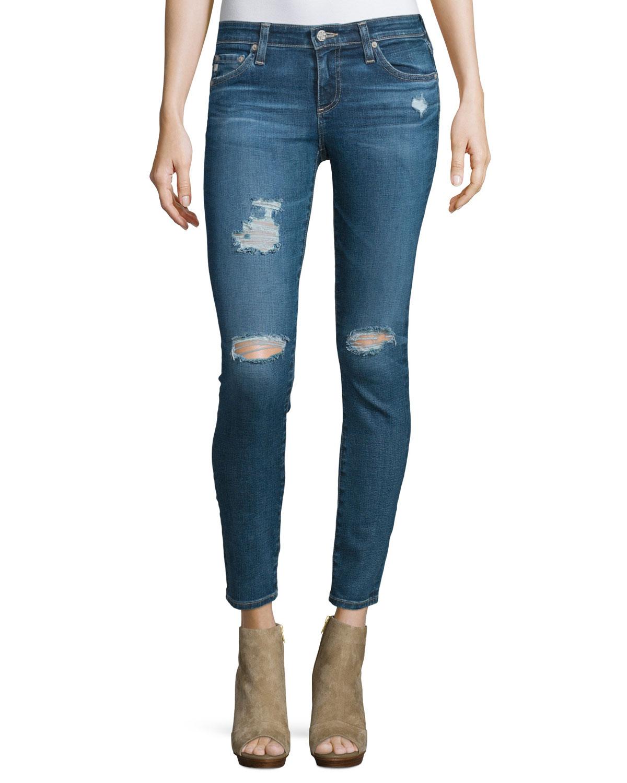 The Legging Distressed Ankle Jeans, 11 Years Swap Meet, Size: 24, 11y Swap Meet - AG