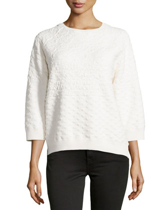 Boxy Jacquard Sweater, Chalk