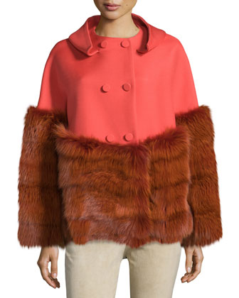 Double-Breasted Jacket W/Fur Trim, Lava Red