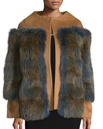 Cashmere Coat W/Fur Trim, Brass