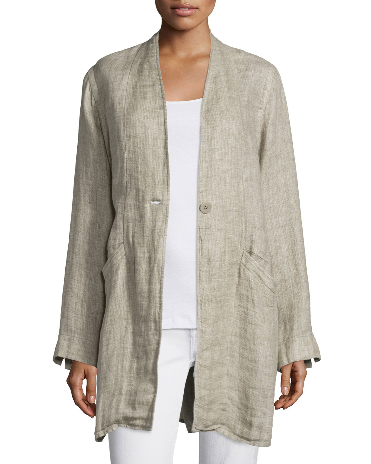 Organic Linen One-Button Coat, Natural, Petite, Women's, Size: PL (14/16) - Eileen Fisher