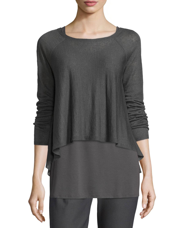 Long-Sleeve Organic Linen Short Top, Petite, Women's, Size: PL (14/16), Black - Eileen Fisher