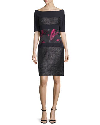 Half-Sleeve Combo Sheath Dress, Noir/Fuchsia