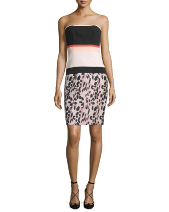 Strapless Colorblock Sheath Dress, Kitten Pink/Noir