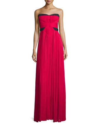 Strapless Two-Tone Plisse Gown, Fuchsia