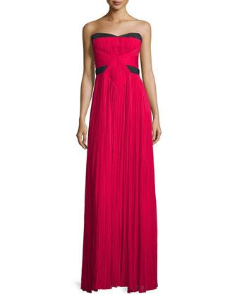 Strapless Two-Tone Plisse Gown, Fuchsia