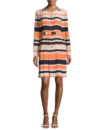 Long-Sleeve Striped Dress, Tender Rose/Multi