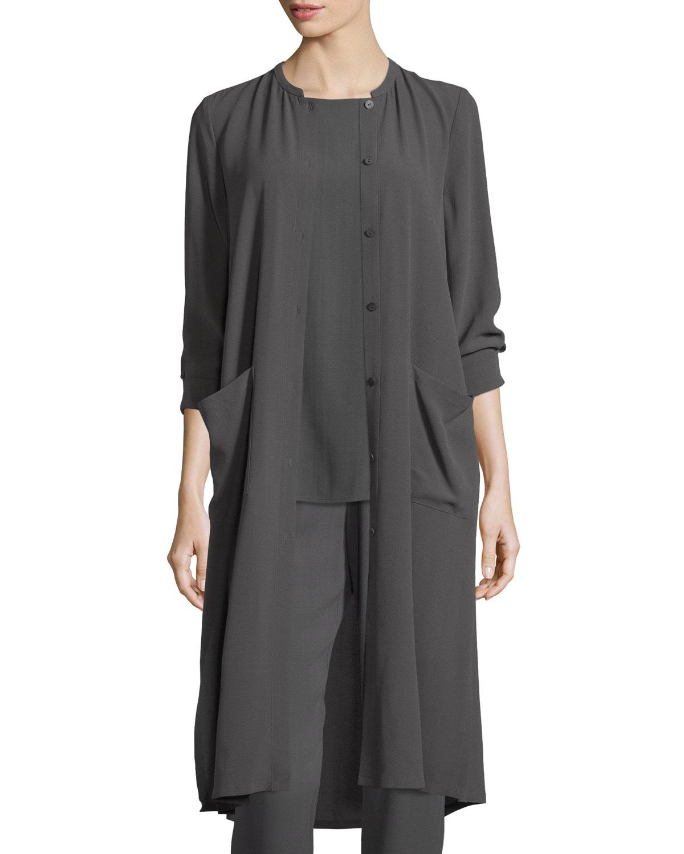 Long Button-Front Silk Duster Coat, Petite, Women's, Size: PL (14/16), Black - Eileen Fisher