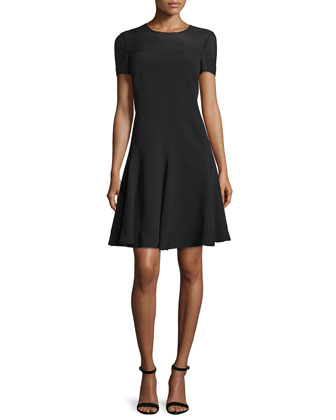 Short-Sleeve Fit-&-Flare Dress, Noir