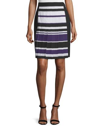 High-Waist Striped Skirt, Kitten Blue/Multi