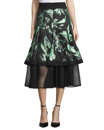 Floral-Print A-Line Midi Skirt, Mint/Noir