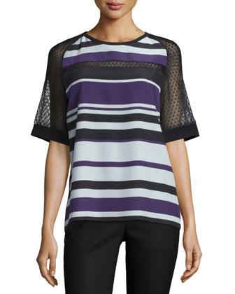 Half-Sleeve Striped Top W/Mesh Inset, Kitten Blue/Multi
