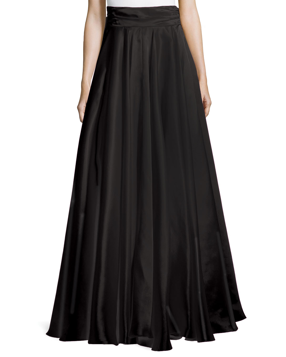 Bow-Back Silk Maxi Skirt, Size: 0, Black - Milly