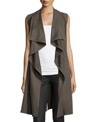 Elem Drape-Front Leather Vest