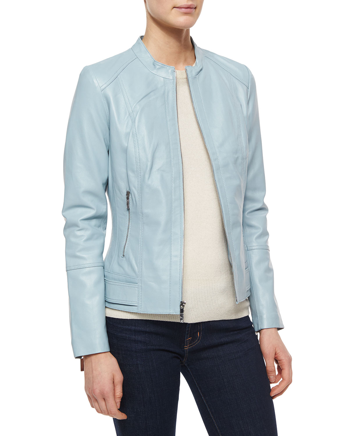 Leather Zip-Front Jacket, Light Blue, Size: LARGE (12-14) - Neiman Marcus