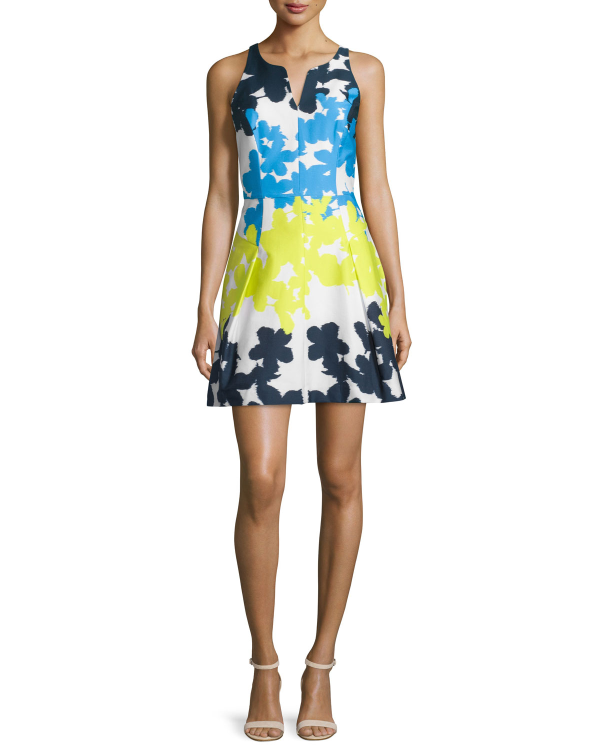 Floral-Print Fit-&-Flare Dress, Multi Colors, Size: 0 - Milly