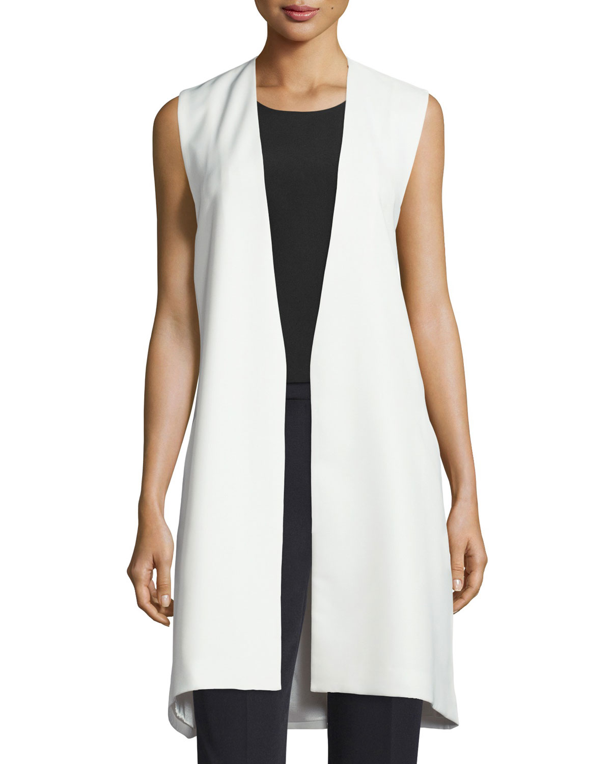 Open-Front Angular Long Vest, White, Size: L - Milly
