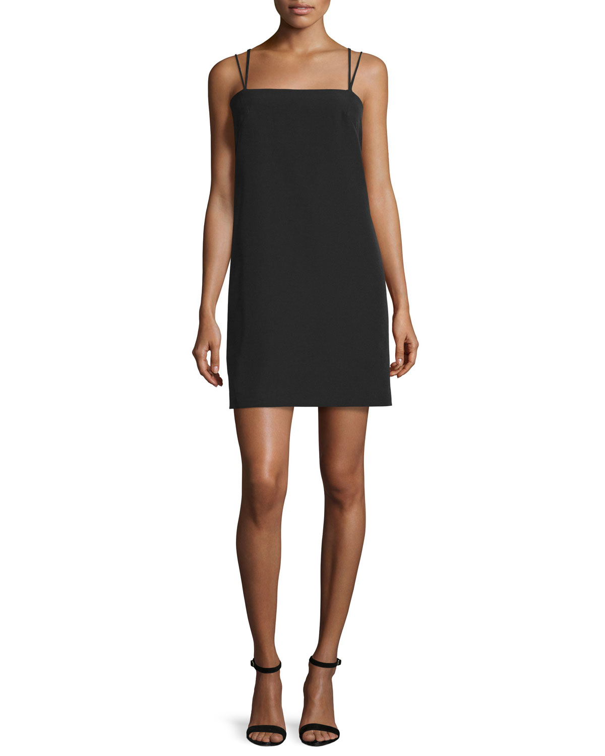 Strappy Seamed Shift Dress, Black, Size: 0 - Milly