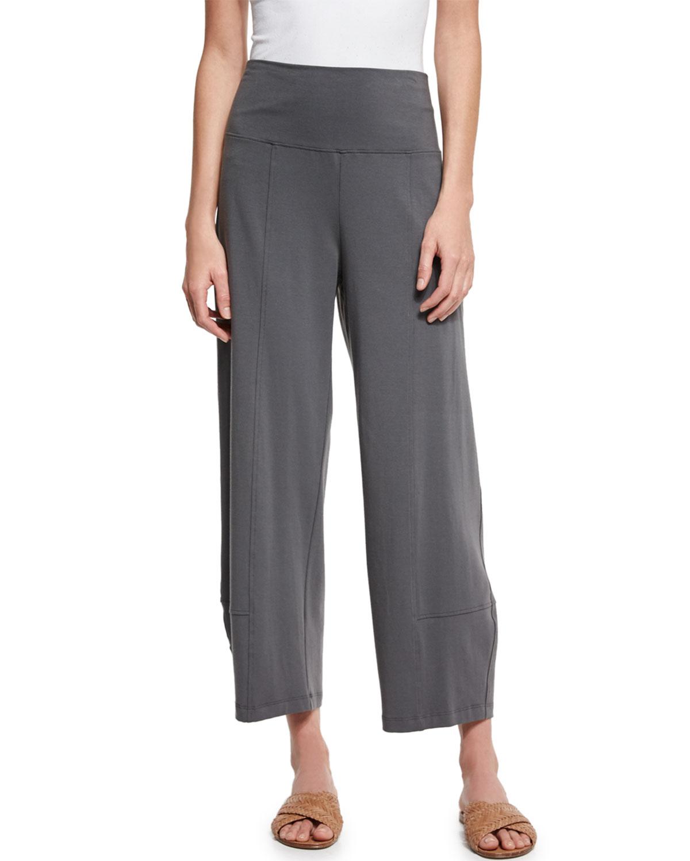 Fold-Waist Cropped Lantern Pants, Women's, Size: 1X (14/16W), Black - Eileen Fisher