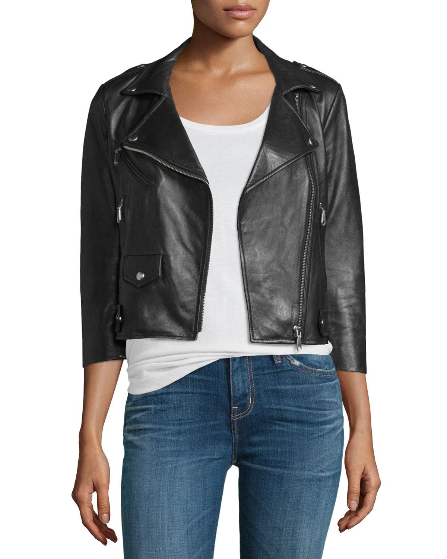 Wes Cropped Leather Moto Jacket, Black, Size: MEDIUM - Rebecca Minkoff