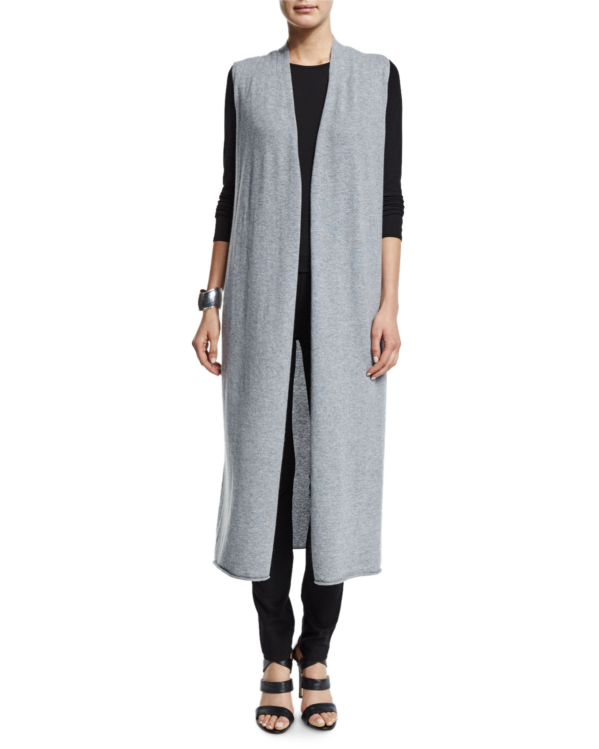 Drama Long Cashmere Vest, Moon, Women's, Size: LARGE (14/16) - Eileen Fisher