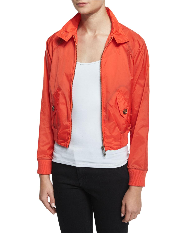 Red Valentino Zip-Front Shrunken Jacket, Papaya (Orange), Women's, Size: 40