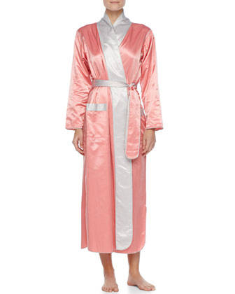 Long Satin Robe, Coral