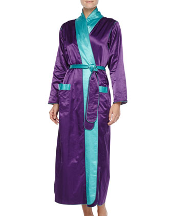 Long Satin Robe, Purple