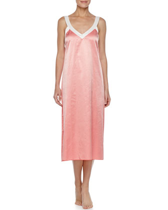 Long Two-Tone Satin Nightgown, Coral