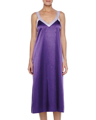 Long Two-Tone Satin Nightgown, Purple