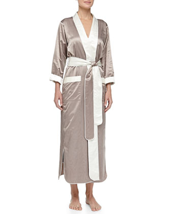 Monte Carlo Satin Long Robe, Truffle/Cream