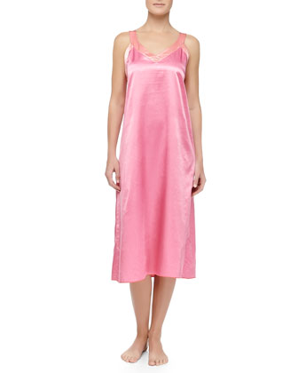 Cassis Long Satin Gown, Pink/Coral