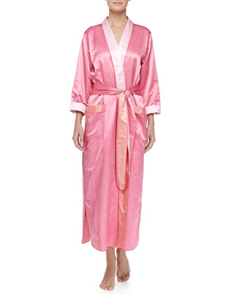 Monte Carlo Satin Long Robe, Pink/Coral