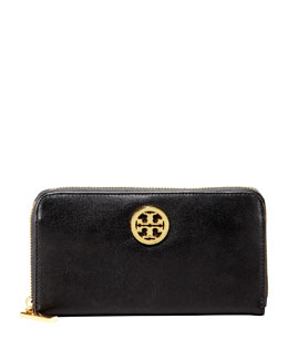 Tory Burch Leather Continental Zip Wallet