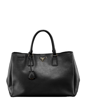 Saffiano Lux Top Handle Tote, Black (Nero)