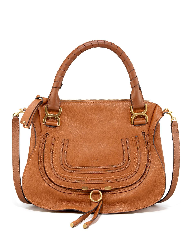 Marcie Medium Satchel Bag, Tan - Chloe